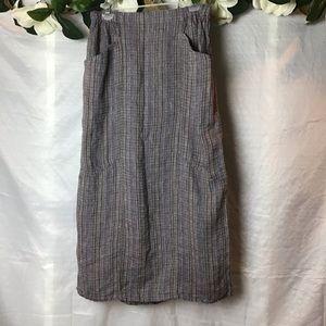 Flax 100% Linen Plaid Maxi Skirt